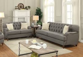 Button Tufted Sofas by Alianza Dark Gray Fabric 2pcs Button Tufted Sofa Loveseat Set W