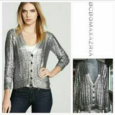 silver cardigan sweater 83 bcbgmaxazria sweaters bcbg reyes silver metallic