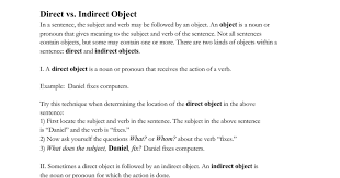 direct and indirect objects google docs