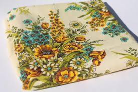 Yellow Home Decor Fabric Vintage Home Decor Fabric Floral Bouquets In Golden Yellow Shades