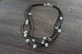 necklace leather cords images Leather cord and pearl necklace pearls4girls JPG