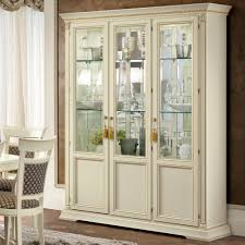 3 Door Display Cabinet Treviso Ornate Ivory Ash Wood 3 Door Glass Display Cabinet F D