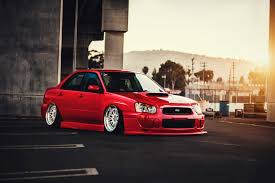 subaru impreza stance subaru impreza wrx sti stance low red color sun car front hd wallpaper