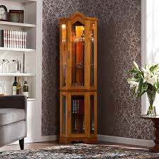 Corner Curio Cabinet Kit Lighted Corner Curio Cabinet Golden Oak 6221876 Hsn