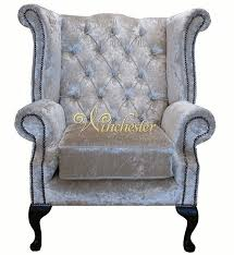 Queen Anne Wingback Chair Leather Chesterfield Swarovski Queen Anne High Back Wing Chair Boutique