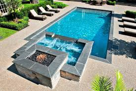 Pool With Spa Designs Geometric Pool And Jacuzzi For Small Yard - Backyard spa designs
