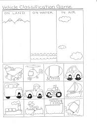 Categorize And Classify Worksheets Transportation Kindergarten Nana