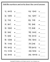 adding one digit numbers with numbers up to two digits worksheet