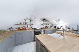 attic kitchen ideas minimalist attic scandinavian gray cabinets light brown countertop