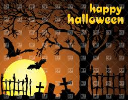 halloween card night cemetery moon and leafless dry tree