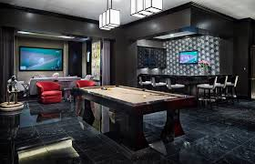 basement man cave with wall pattern family room traditional and