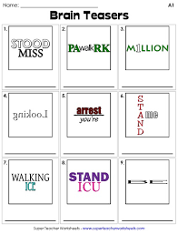 brain teaser worksheets printable brain teasers