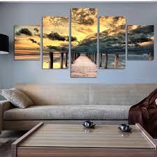 best seascape wall art wooden bridge painting on canvas sunset
