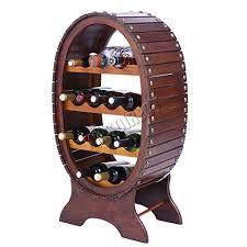 foxhunter wooden luxury barrel shape vintage wine rack spirit