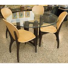 Circular Glass Dining Table And 4 Chairs Table Round Glass Dining With Metal Base Sunroom Kids Victorian