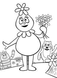 foofa hold flower hand yo gabba gabba coloring
