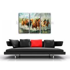 large framed artwork giclee print group horse canvas print home