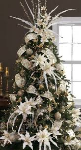 tree decorations gold and white happy holidays