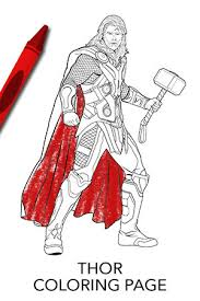 Avengers Thor Coloring Page Disney Movies Thor Coloring Page
