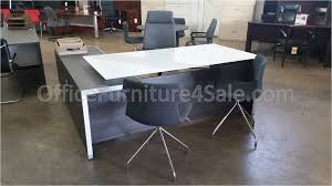 L Shaped Desk With Locking Drawers by Chiarezza Executive Split Level L Shaped White Glass Top Desk With