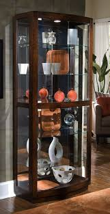 furniture luxury pulaski curio cabinets with glass door and