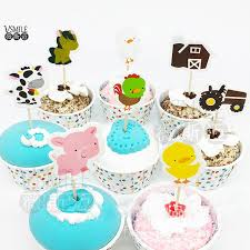 farm cake toppers new 24pcs farm animals pig dog truck balloon princess cupcake
