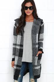 plaid sweater black and grey sweater plaid jacket cardigan 98 00