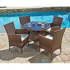 5 piece patio table and chairs amazon com 5 piece outdoor patio dining set with cushions uv