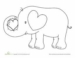 valentine u0027s elephant coloring worksheets craft