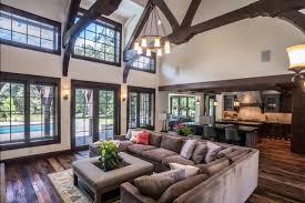 microfiber sectional living room rustic with dark wood beams dark