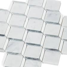 carrara thassos cube marble mosaic 11in x 12in 100248491