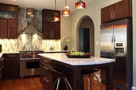 small kitchen design with island modern white chairs nickel