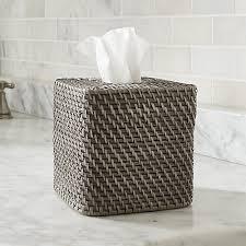 sedona grey square tissue box cover crate and barrel