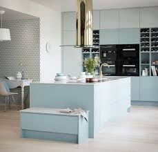 French Blue And White Ceramic Tile Backsplash Classic Scandinavian Design White Island Cabinets Stools And