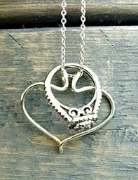 godmother necklace heart pendant sterling silver ring holder necklace handmade