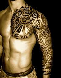 tribal idea for on chest and shoulder tattoos