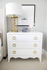 Color Combination With White Gold Nightstand In The Bedside Will Look More Shinier