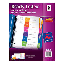 avery 15 tab table of contents color template amazon com avery ready index table of contents days of the week