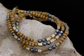 handmade bracelet designs images Facetted hematite and wood bead bracelet handmade for www elysee jpg