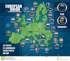 Europe Flag Map by European Union Infographic Map Stock Vector Image 51432046