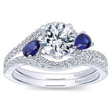 jewelry rings sapphire images Gabriel co bridal set diamond pave and sapphire bypass jpg