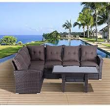 Outsunny Pcs Rattan Garden Furniture Sofa Set Patio Outdoor - Patio furniture sofa sets