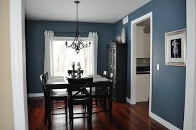 vintage blue dining room walls with black dining sets in laminate