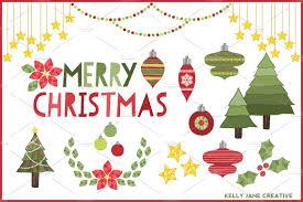 christmas decorations clipart illustrations creative market