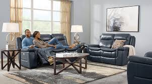 livingroom ls blue 3 pc leather living room reclining living rooms blue