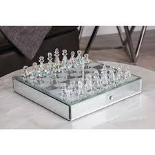 decorative chess set 5 in x 14 in modern elegance crystal chess set 39672 the home depot
