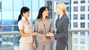 business greeting multi ethnic business greeting each other stock footage