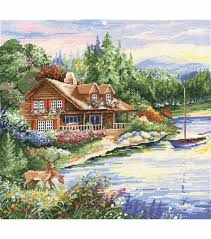 design works counted cross stitch picture kit lakeside cabin log