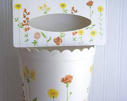 Yellow Wastebasket Retro Trash Can Etsy