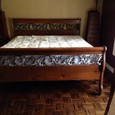 find more king size sleigh bed solid oak wrought iron inlay